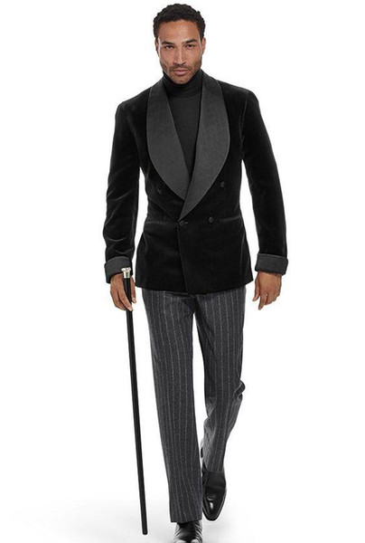 Fashion Velveteen Groom Shawl Lapel Tuxedos Groomsmen Mens Wedding Dress Man Jacket Blazer Prom Dinner 2 Piece Suit(Jacket+Pants+Tie) A89