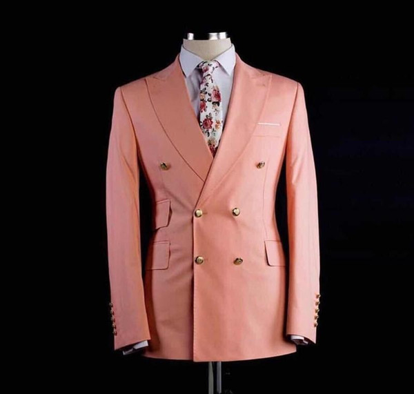 Double Breasted Side Vent Pink Groom Tuxedos Peak Lapel Mens Coat Trousers Set Prom Oarty Business Suits (Jacket+Pants+Tie) G1671