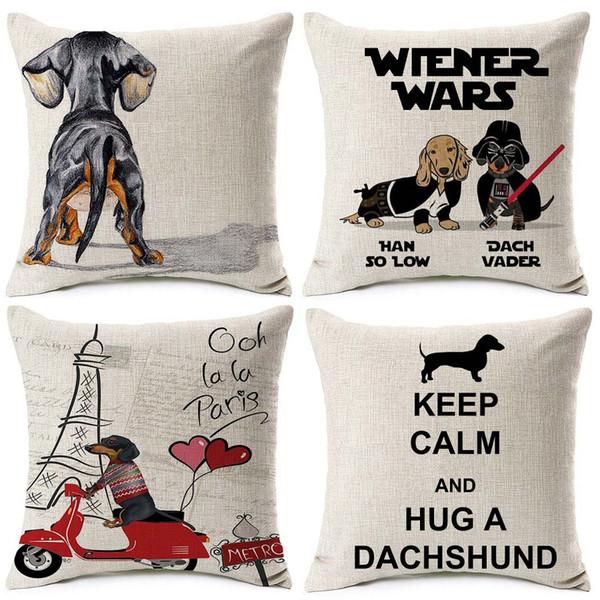 Dachshund Dog LOVE Heart Cushion Covers Keep Calm and Hug a Dachshund Beige Linen Pillow Covers 45X45cm Chair Sofa Decoration