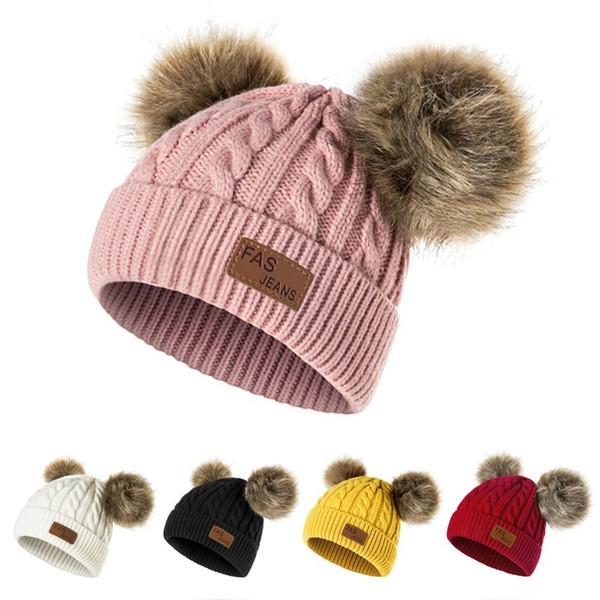 Новые зимние Hat Мальчики Вязаные Шапочки Толстый ребенок мило волос Болл Cap малышей Теплый Cap мальчик девочка Pom РОМ Теплый Hat