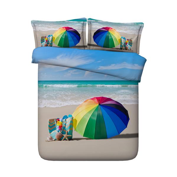 Beach umbrella duvet 3-Piece Bedding Set With Pillow Shams Coastal Bedspread Coverlet Seashells Ocean Wave Comforter Cover Seascape Ocean