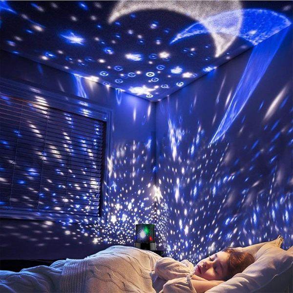 RGB Luz de noche brillante y colorida Lámpara de proyección de cielo estrellado cósmico Lámpara de atmósfera LED Lámpara de decoración de barra Azul / Blanco