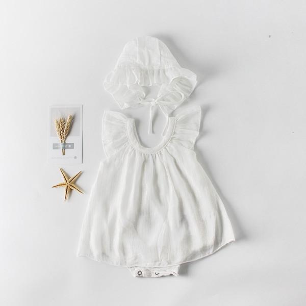 2019 été nouveau bébé fille mince Body premier anniversaire manches évasées princesse combinaison globale + chapeau bébé vêtements E81010