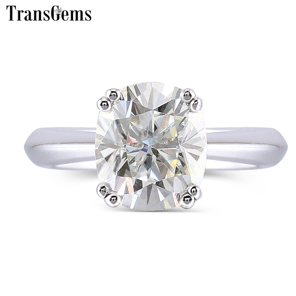 Transgems 2 Carats Ct 7x8mm Cushion Cut Moissanite 2.8mm Band Width Engagement Ring For Women Platinum Plated Silver Y19032201
