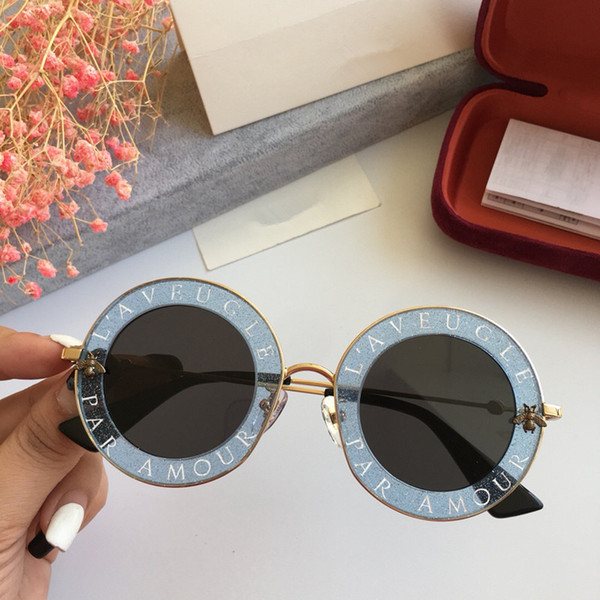Lüks 0113 S Kadınlar Için Güneş Gözlüğü Tasarımcı Moda 0113 Yuvarlak Yaz Stil Beyaz Pembe Çerçeve En Kaliteli UV Koruma Lens ...
