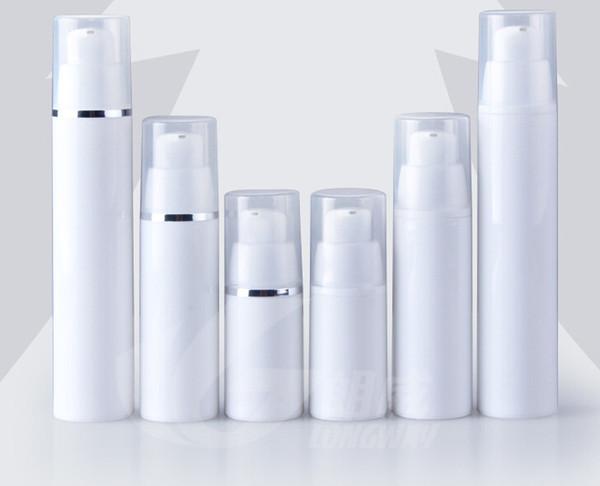 Venta al por mayor 500 unids 15 ml blanco loción botella sin aire tapas blancas claras bomba botella botella de loción emtpy para cosmética