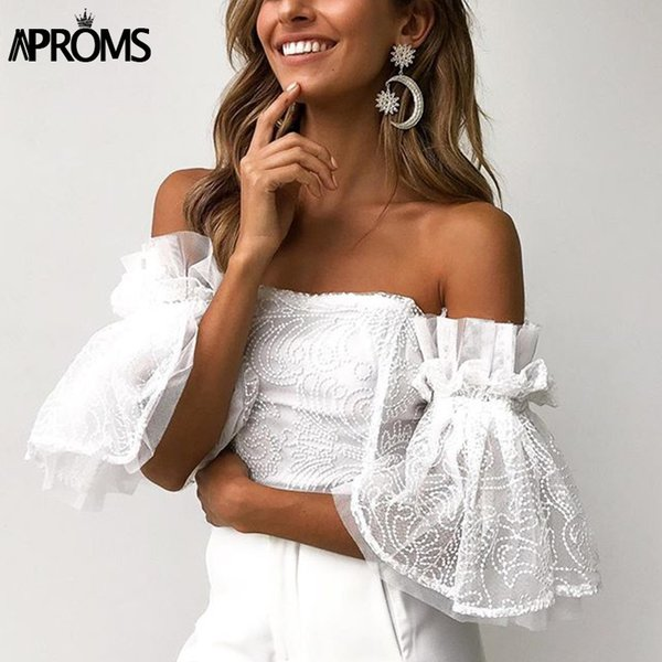 Aproms Elegant Off Shoulder Lace Mesh Crop Top Women Sexy Hollow Out White Tank Tosp 2019 Cool Girls Flare Sleeve Tube Camis Y19071601