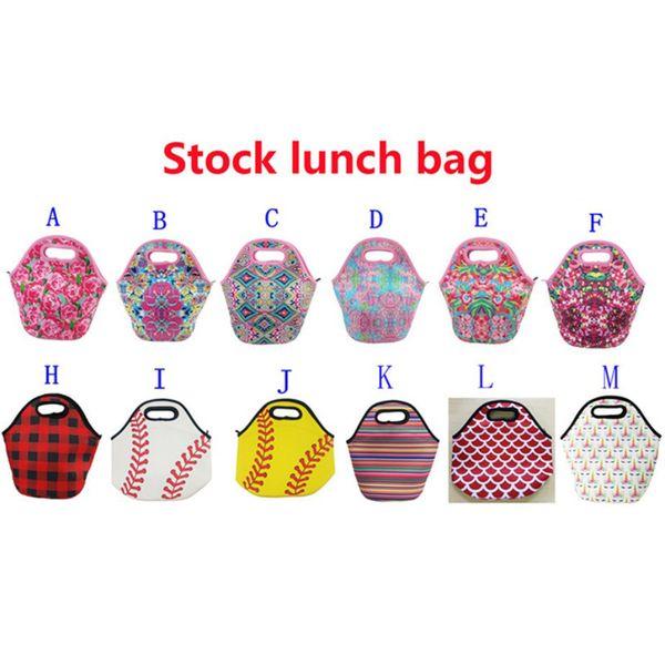 Lily Baseball Impresión Bolsas de almuerzo Caja de asas con material de neopreno fino Starfish Lunch Box Picnic impermeable Almuerzo Bolsa de cremallera Bolsa de mamá 30x29cm