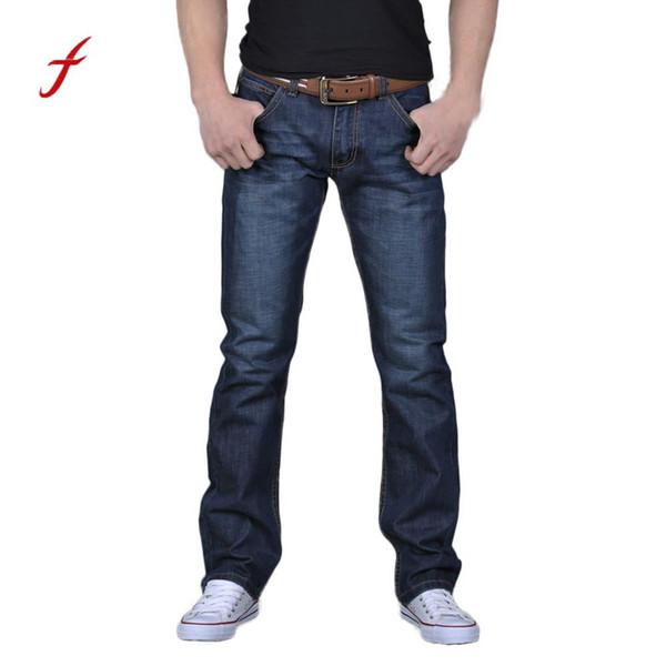 feitong 2018 Men's Casual Autumn Denim Cotton Hip Hop Loose Work Long Trousers Jeans Pants men jeans pants slim fit #30