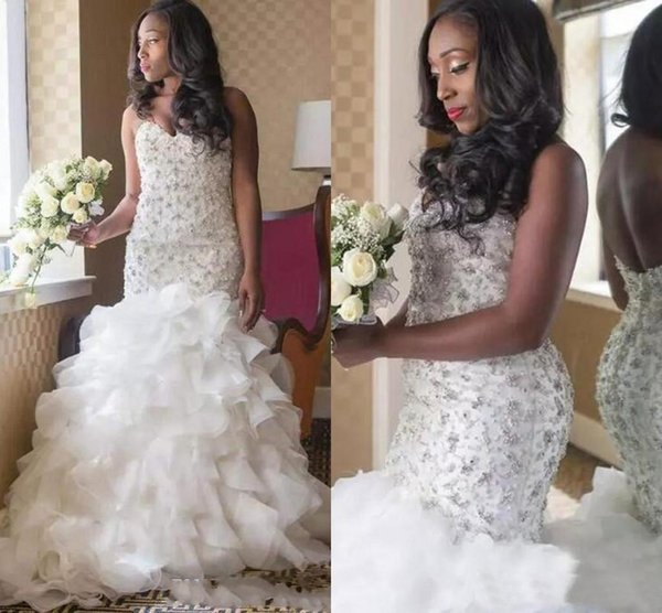 2019 Luxury New African Mermaid Wedding Dresses Sweetheart Lace Appliques Crystal Beaded Ruffles Tiered Organza Plus Size Formal Bridal Gown
