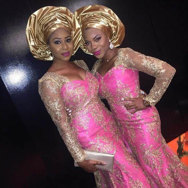 Ouro africano Lace Ilusão Mangas Compridas Vestidos de Noite 2019 Bellanaija Retrato Sereia Estilos de Festa de Formatura Vestido de Festa de Aniversário Vestidos de Sereia