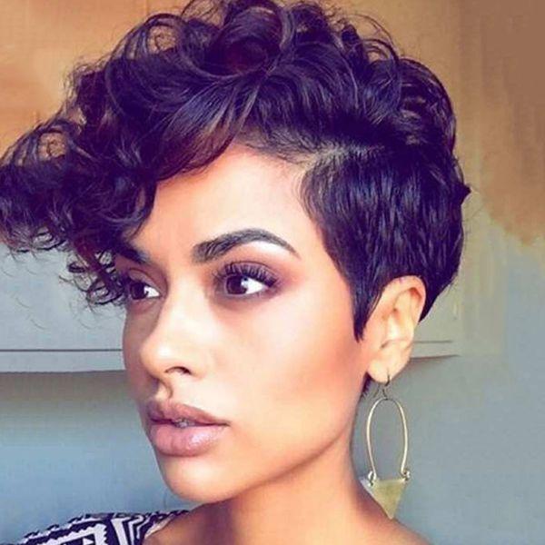 Kurze Haarperücke der heißen verkaufenden reizvollen Art und Weisefrauen 10 Zoll lockiges schwarzes Haar der Afroperücken 100% synthetisches Haar mit dem Spinnen der Kappe geben Verschiffen frei