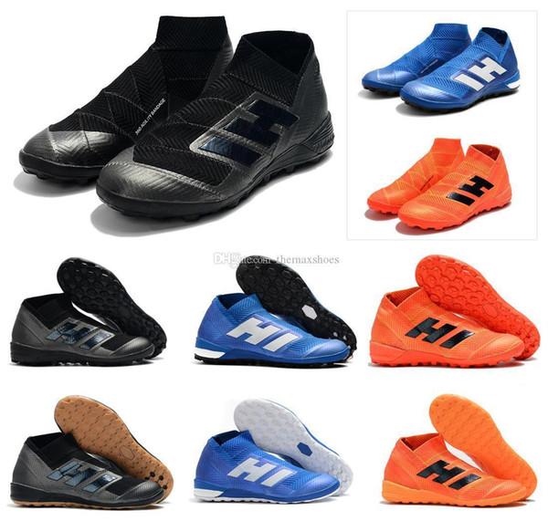 18 Nemeziz Tango Hot Messi TF IC Turf Indoor Cleats Alto tobillo Slip-On 18 x Zapatos de fútbol para hombre Botas de fútbol Tacos Tamaño US 6.5-11