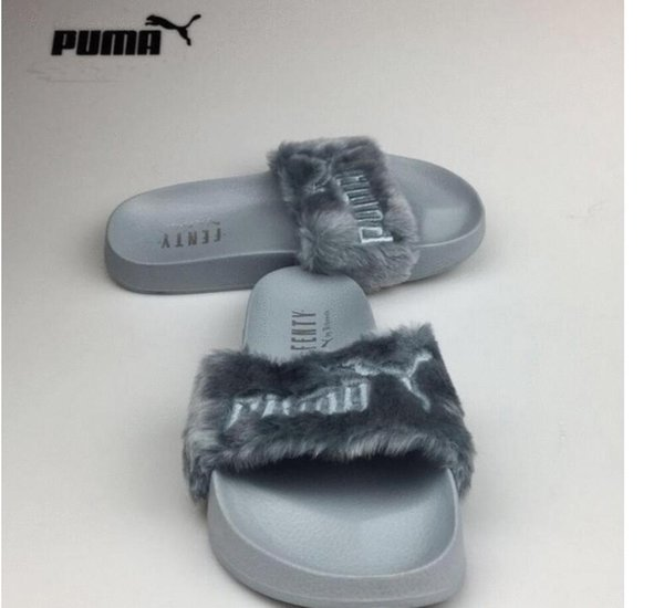 wholesale dealer c8050 f4031 Puma Leadcat FenTy RihanNa Shoes For Women Slippers Indoor Sandals Girls  Fashion Scuffs Pink Black Grey Fur Slides Star SWith Women Red Shoes Moon  ...