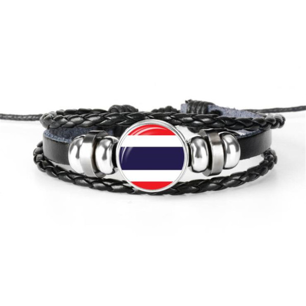 Fashion Thailand National Flag World Cup Football Fan Time Gem Glass Cabochon Button Bracelet Genuine Black Leather Rope Beaded Jewelry Gift