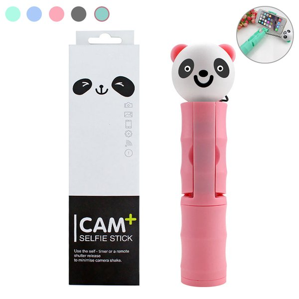 Mini Cartoon portrait Panda wired Selfie Sticks Monopod Extendable For iPhone Samsung HUAWEI Android Smartphone Remote Shutter Selfie pole