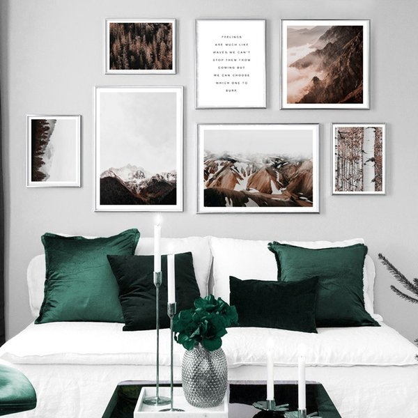 Mountain Forest Tree Plant Quotes Wall Art Prints Canvas Painting Nordic Posters And Prints Wall Pictures For Living Room Decor