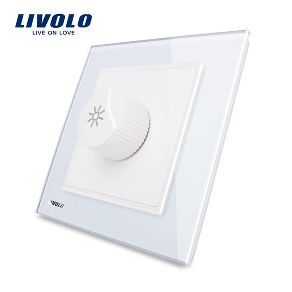 LIVOLO UK Standard Home Knight Black Crystal Glass Panel, AC 110~250V Dimmer Control Light Switch Types