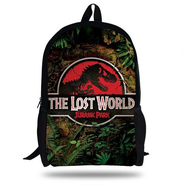 16inch Hot Sale Dinosaur Print Backpack Fallen Kingdom Bag For Kids School Boys Girls Casual Bag For Teenagers