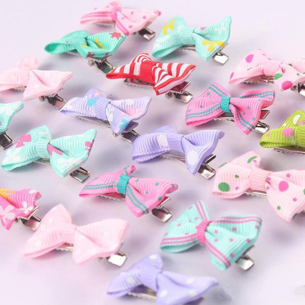 Korean stripe bow candy colors hairclip baby girls star fashion cloth hairpin cute hair accessories mix colors send