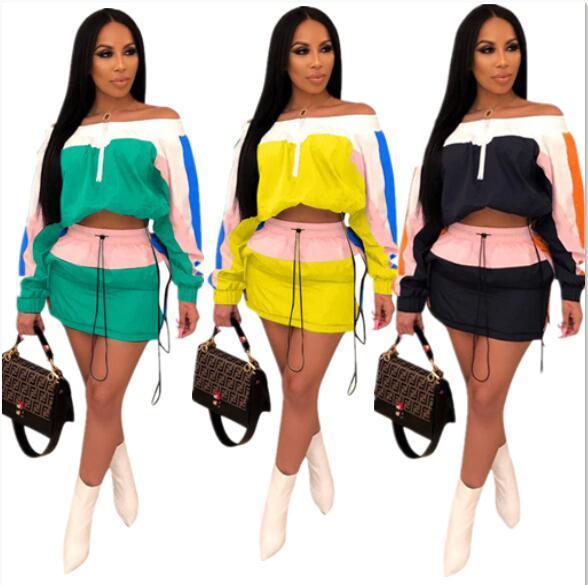 Women Patchwork Summer Tracksuit Sun-protective Outfit Long Sleeve Shoulder Out Top Jacket + Short Dress Skirt 2 Piece Sportswear A3252