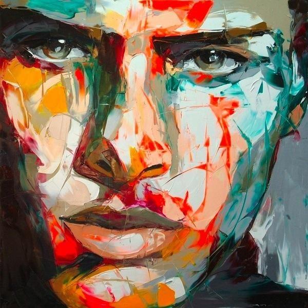 Dipinto a mano Palette coltello ritratto ritratto Palette knife Francoise Nielly Face Abstract Pittura a olio Impasto figura su tela Decor FN30