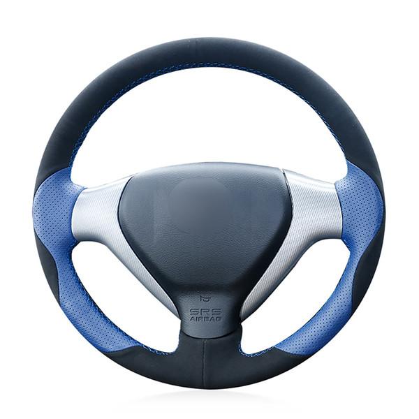 Cubierta antideslizante del volante del coche de cuero azul de gamuza cosida a mano para la ciudad 2007-2008 Fit 2007-2008 Jazz