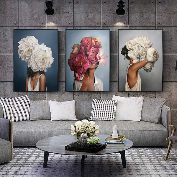 top popular Flowers Feathers Woman Abstract Canvas Painting Wall Art Print Poster Picture Decorative Painting Living Room Home Decoration 2020
