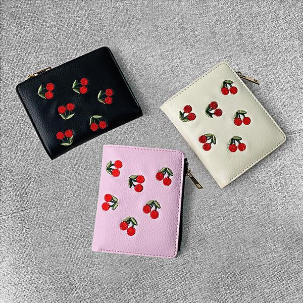 Portefeuille femme en cuir grainé cerise brodé portefeuille femme court portefeuille en cuir cerise étudiant porte-monnaie portmonetka damska