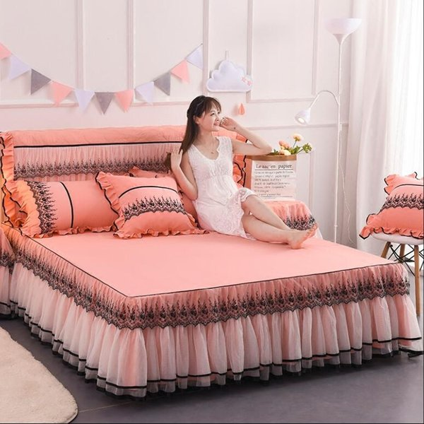 Rose Red Pink Lace Bedding Bed Skirt Pillowcases Wedding Gift Princess Bedspread Bed sheet