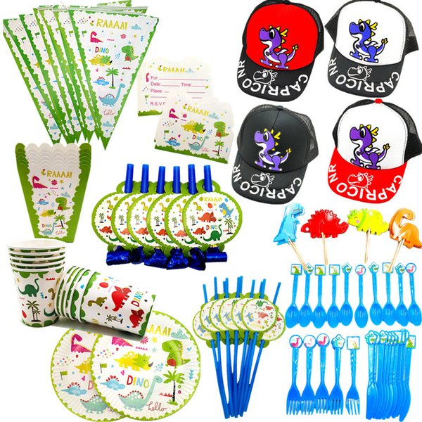 Dinosaur Party Tableware Kits Paper Cups Plate Staw Dinosaur Banner Birthday Party Decoration Kids boy Supplies