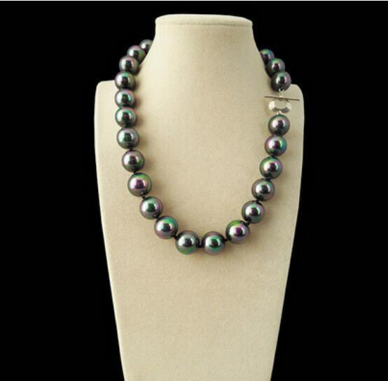 """FREE SHIPPING++ + Rare Rainbow Black South Sea Shell Pearl Heart Clasp Necklace 18"""""""