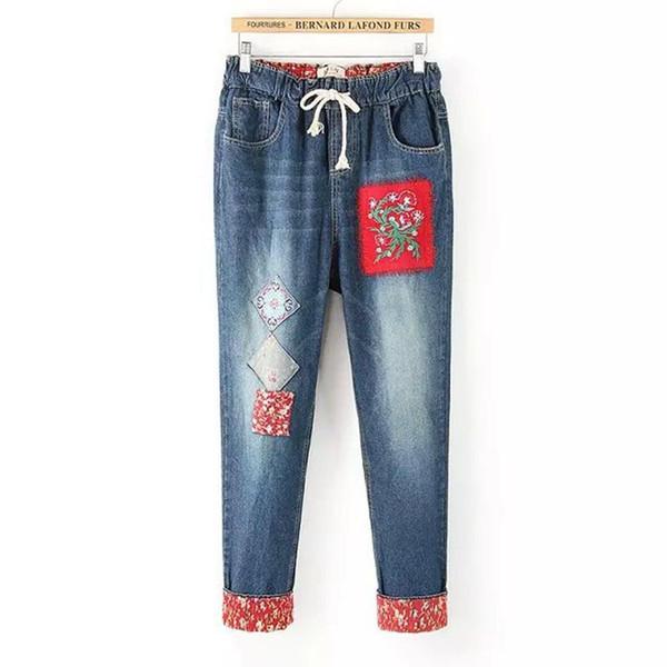 Ethnique Broderie Élastique Haren Pantalon Denim Jeans Pantalon Lâche Pantalon Femme Automne Été Mince Fleur Patch Décoration