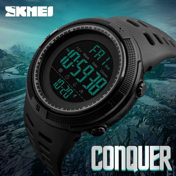 SKMEI Men's Chronograph Sports Digital LED Watches Double Time Alarm Big Face Countdown  Waterproof Quartz Wristwatch