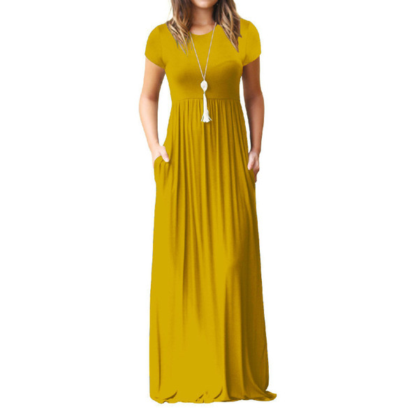 Summer Maxi Long Dress Women Clothes New Fashion Short Sleeve Solid Casual Dresses Cotton Femme Pockets Robe Solid Plus Size Xxl Y19051102