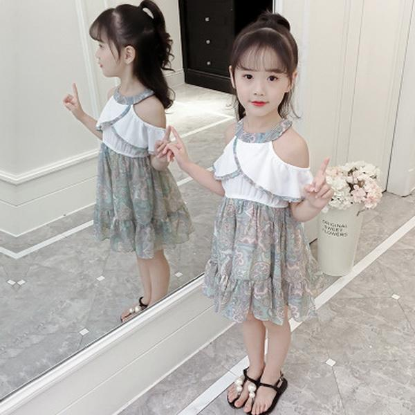 Bambini Nuovi vestiti Ragazza Neckle Princess Skirt Edizione coreana di Datong Mostra spalla Flower Dress Summer Skirt Modello alla moda