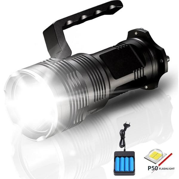 Torcia a LED ad alta potenza 2500 Lumens XHP50 Torcia tattica USB ricaricabile Lampada a LED portatile con caricabatteria