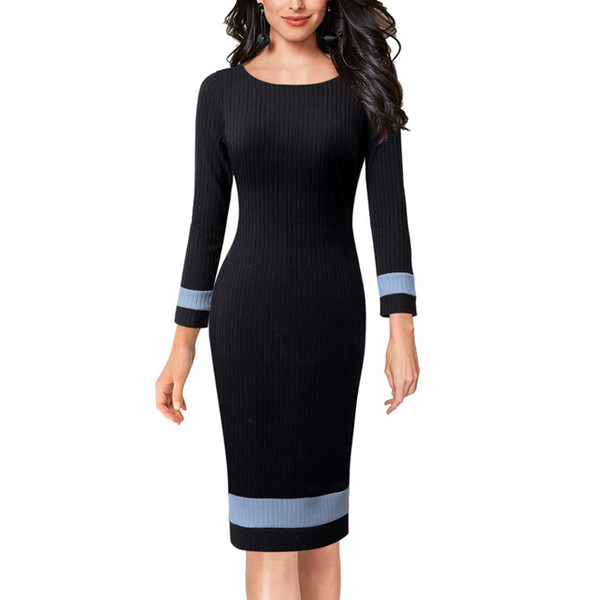 Vfemage Women Autumn Winter Colorblock Rib Fabric Slim Fitted Work Business Office Casual Party Bodycon Sheath Pencil Dress 1259