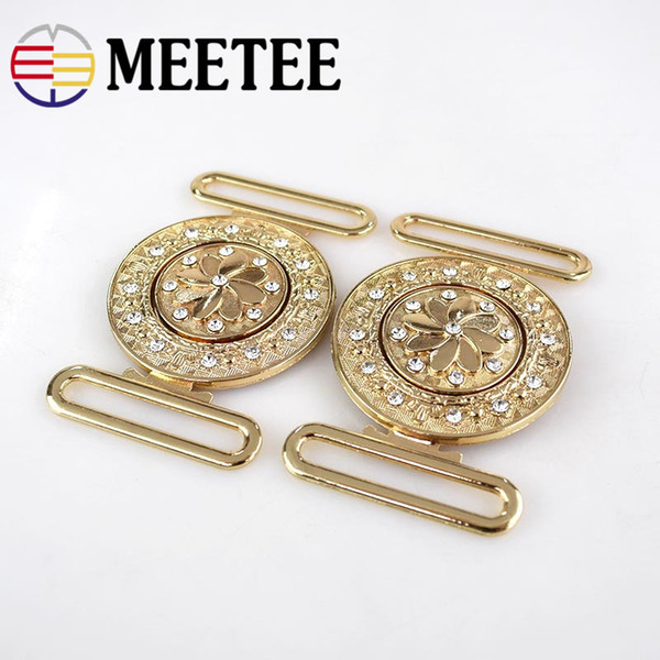 Meetee Metal Rhinestone Button Belt Buckles for Coat Garment Hooks DIY Clothing Bags Sewing Connection Buckle Accessories