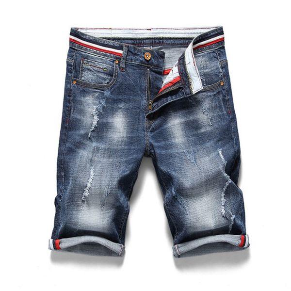 Hombre marca de ropa de mezclilla de verano más el tamaño 28-38 pantalones cortos de los hombres rasgados pantalones vaqueros rectos pantalones cortos de algodón Jean Bermuda