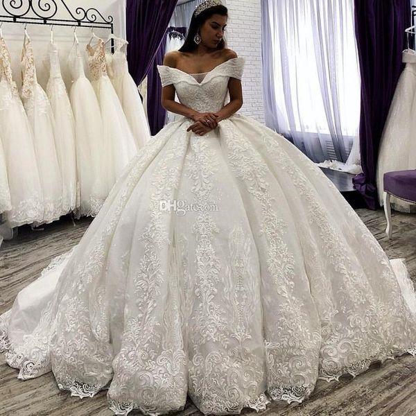Великолепные Принцесса Кружева Аппликации 2019 Свадебные платья с плеча развертки Поезд Свадебные платья зашнуровать назад свадебное платье Vestido De Novia