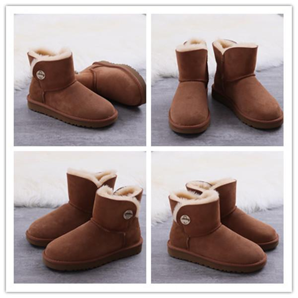 Free shipping Classic Genuine leather bailey bow snow boots 100% Wool Women Boots Warm winter shoes for woman Australia snow boots