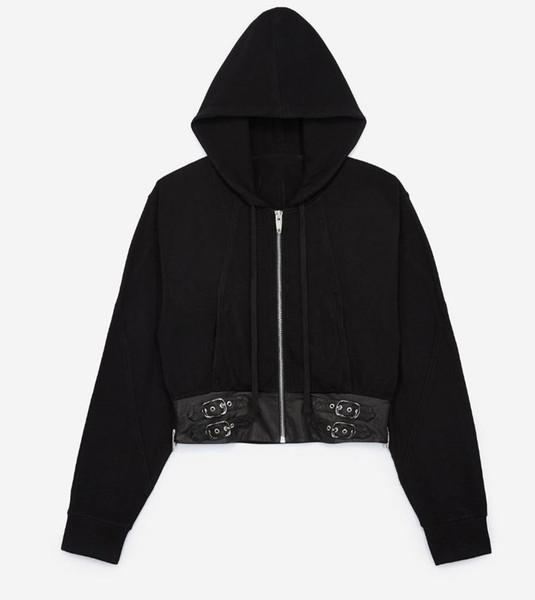 Kadın Siyah Kırpılmış Pamuk Ceket Kapüşonlu Etek Koyun deri patchwork tokaları ile Yan fermuarlar Uzun Kollu