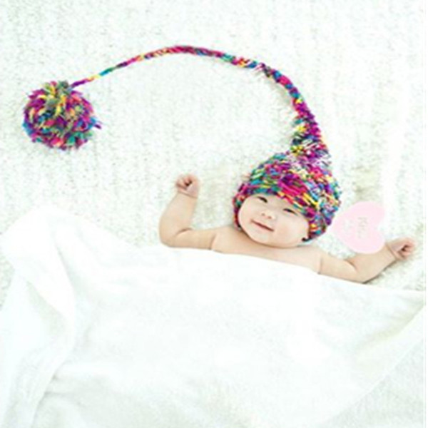 Baby fotografie props new born pom pom hat long tail newborn photography prop knit toddler beanie infant shooting baby photo accessories