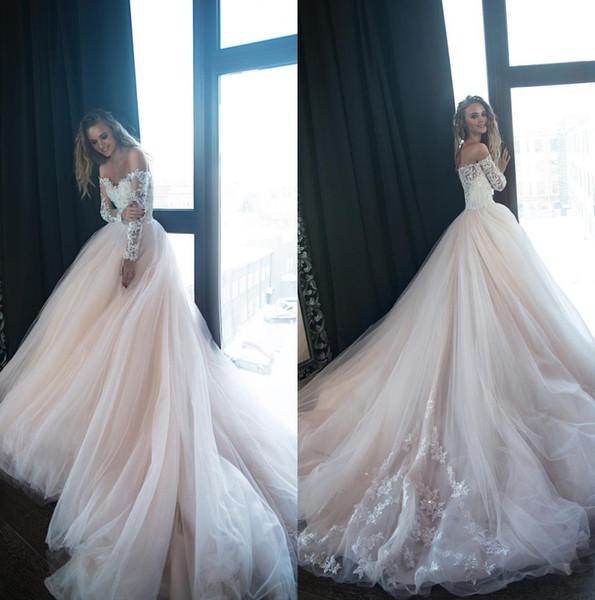 2019 blass rosa lange Ärmel Spitze eine Linie Brautkleider aus der Schulter Tüll Applique Sweep Zug Hochzeit Brautkleider Robe de Mariée