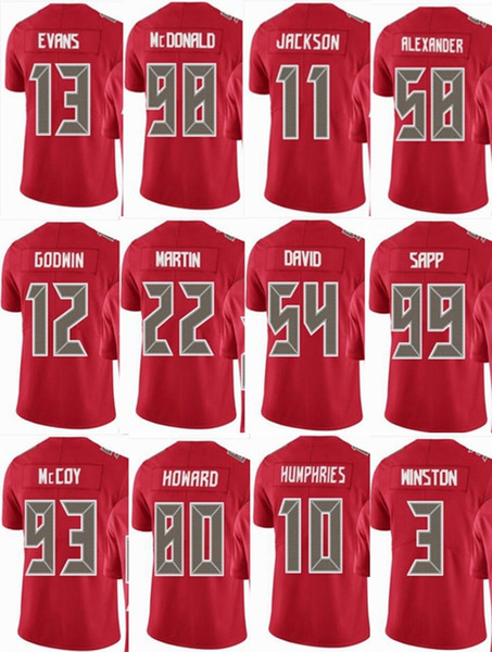 sports shoes eb3b9 7d0c5 2019 BUCCANEER Tampa Bay #13 Mike Evans #3 Jameis Winston #58 Kwon  Alexander 11 DeSean Jackson Men Women Youth Color Rush Elite Football  Jerseys From ...