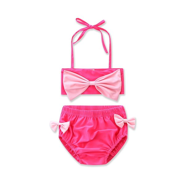 Baby Pink Two Pieces Swimwear Toddler Girl Pink Bikini Baby Summer Cute Two-Piece Beachwear Swimming Kids Outfits 2-6Y