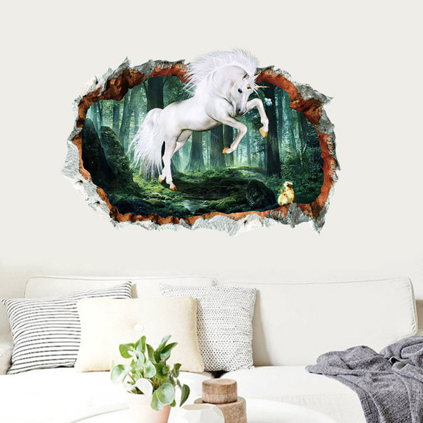 3D Animal Unicorn Wall Stickers Window Effect Wall Decal For Baby Kids  Bedroom Room Home Decoration Big Wall Decals Big Wall Stickers From Kity12,  ...