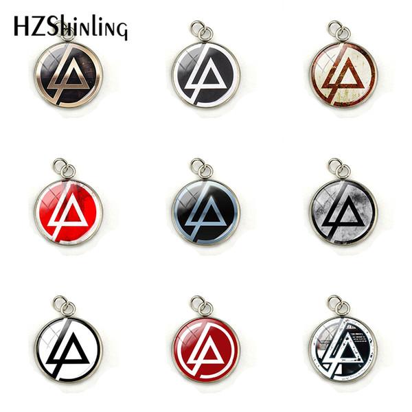 Nova Moda Linkin Park logotipo Encantos Linkin Park Banda de Rock de Aço Inoxidável Butterfl Glass Dome Colar Pingentes Jóias