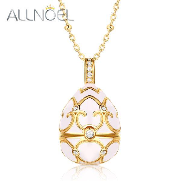 ALLNOEL Long Chain Sweater Necklace Costume Jewelry Kits 925 Sterling Silver Enamel Ggg Pearl Cage Locket Pendant White Zircon
